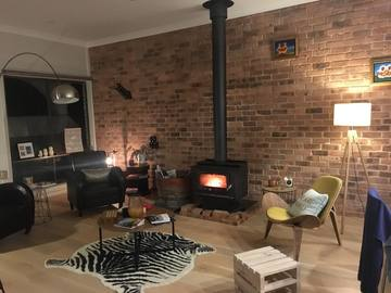 Renting out with online payment: Living Room with Amazing Fireplace