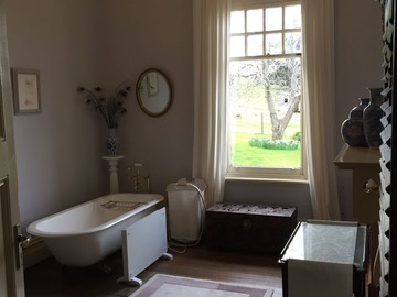 Renting out with online payment: Bathroom with Fireplace and Chandelier