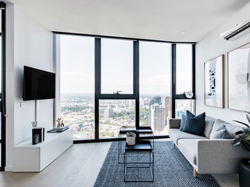 Renting out with online payment: Living Area with Stunning Skyline Views
