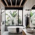 Renting out with online payment: Chic bathroom with plants and natural light