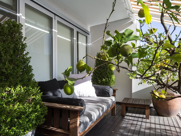 Renting out with online payment: Huge Deck with Daybed and Sorrounded by Fruit Trees