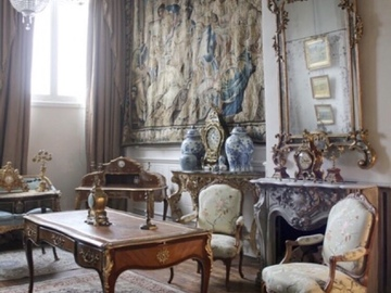 Renting out with online payment: Unique Marie-Antoinette style Salon with fireplace