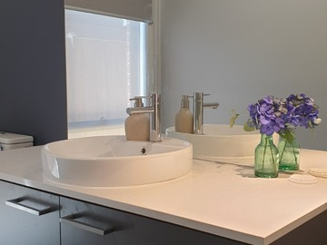 Renting out with online payment: Modern powder room in grey hue